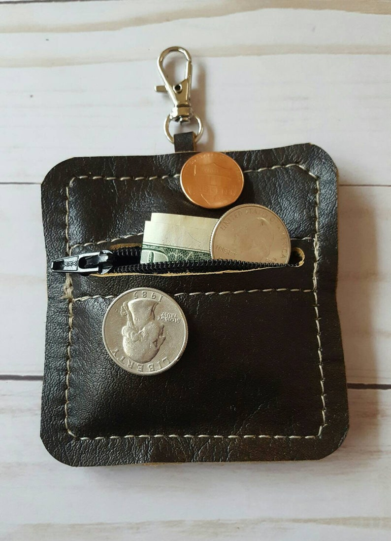 Leather Coin Purse Dark Brown Earbud Pouch Zip Leather Earbud Pouch Handmade Brown Leather Coin Purse Zip Leather Coin Pouch