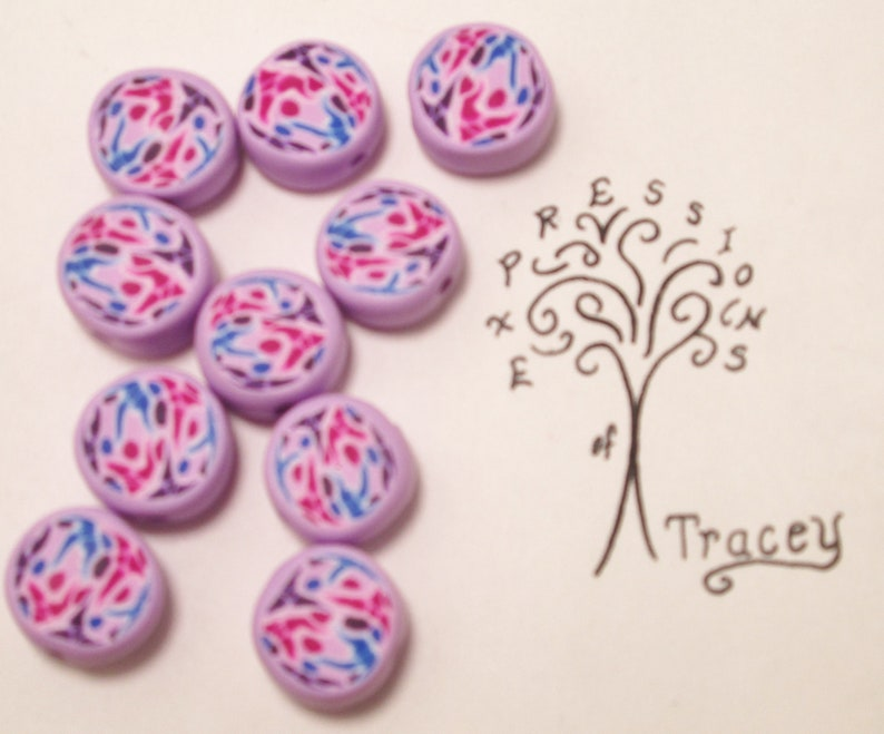 Pink Blue Purple Design Disc Polymer Clay Beads