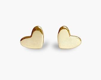 Tiny baby stud earrings 18k Gold heart studs / Delicate gold earrings for sensitive ears
