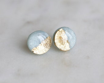Surgical steel blue gold foil studs earrings made with hypoallergenic stainless steel posts / modern polymer clay jewelry