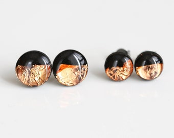 Black and rose gold stud earrings with surgical hypoallergenic steel base / Polymer clay jewelry