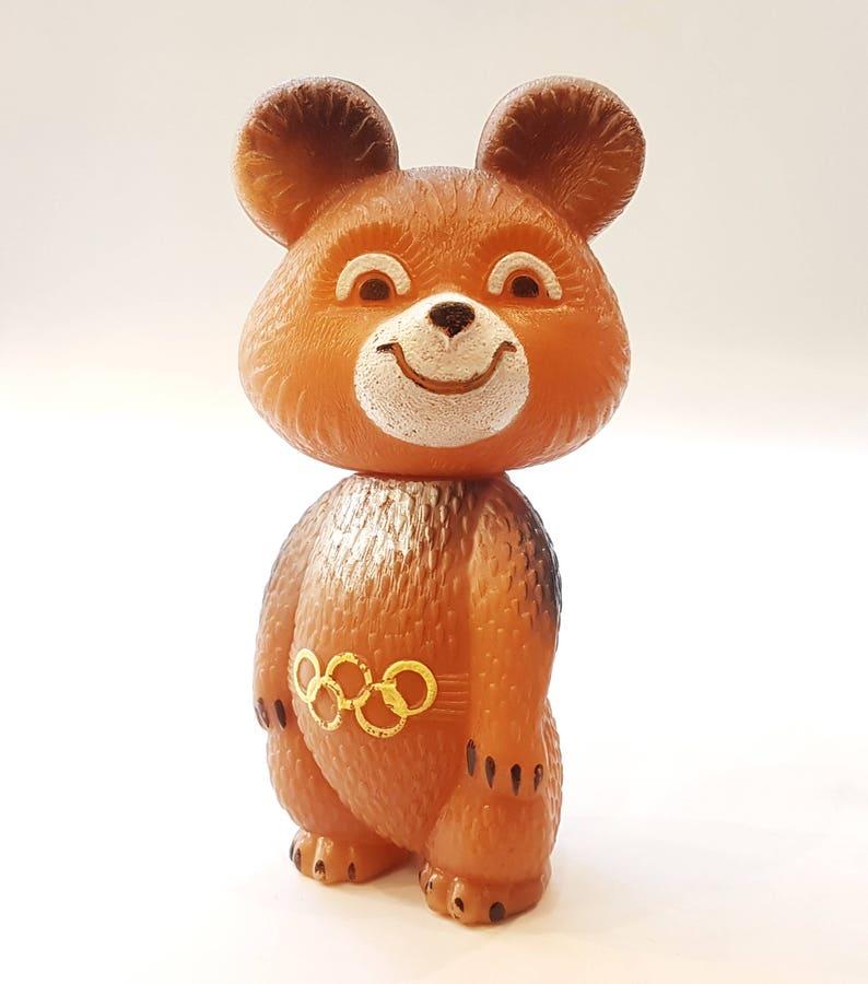 Bear MISHA mascot XXII Olympic Games Moscow 1980 Polyethylene USSR 16cm 6.3inch Gl\u00fccksbringer Olympiade 80 in Moskau 16.5cm 6.5inch