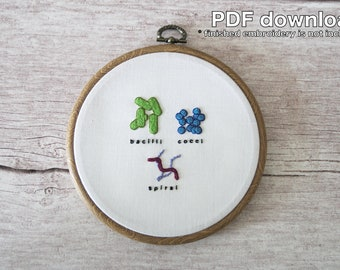 Bacteria Shapes Scientific Hand Embroidery Pattern - PDF Instant Download - Beginner Level - Materials not included