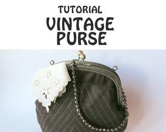 Frame purse PDF pattern and tutorial vintage bag pattern bag tutorial instant download