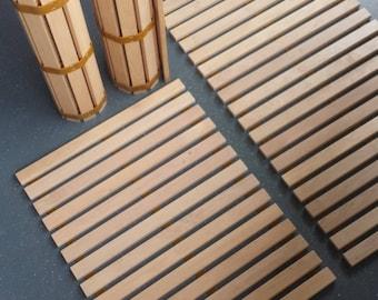 Alder wood mat/  Smart roll-on wooden mat