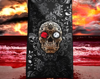 Gothic Day Of The Dead Beach Towel With Creepy Sugar Skull, Gothic Home  Decor, Gothic Bathroom