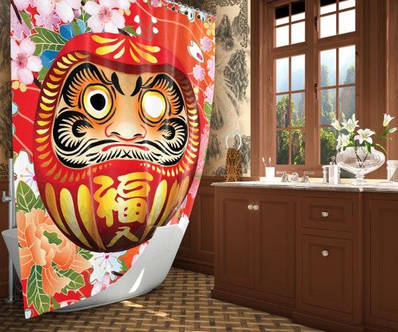 Japan Shower Curtain Japanese Art Daruma Decor