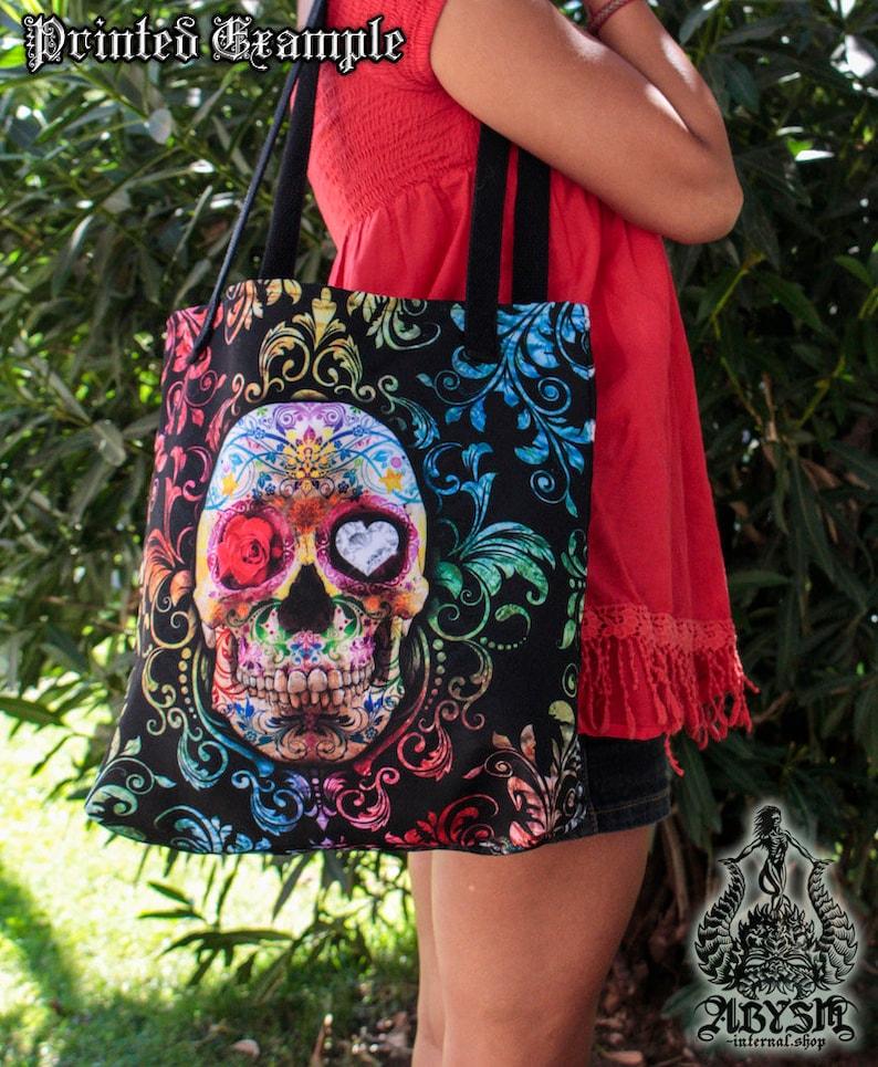 Sugar Skull Tote Bag Artsy Beach Bag Funky Shoulder Bag