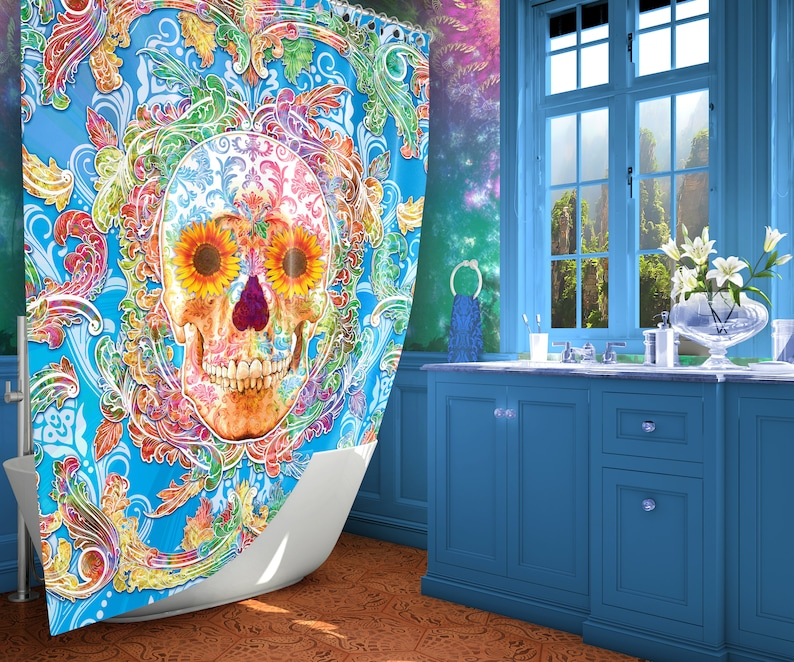 Sugar Skull Shower Curtain With Flowers Day Of The Dead