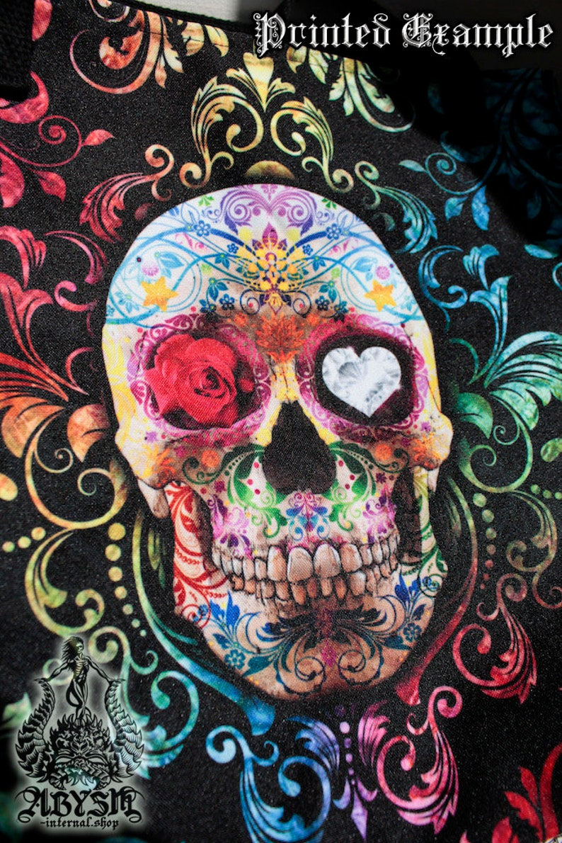 Vaporwave Bag with Psychedelic Skull Yami Kawaii Tote Bag