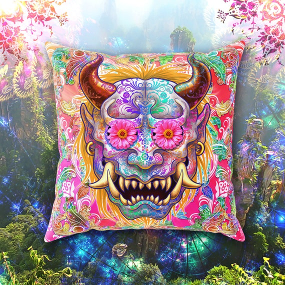 . Funky Throw Pillow  Trippy Home Decor  Sugar Skull Oni  Maximalist Decor   Pillow Case