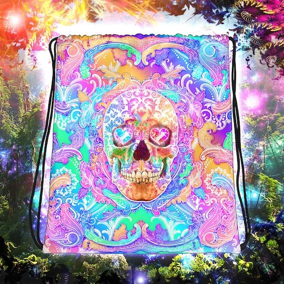 Yami Kawaii Psychedelic Skull Drawstring Backpack Menhera Kei Bag Vaporwave Style