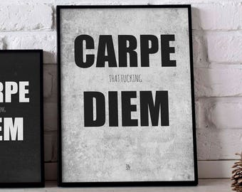 Carpe Diem sign, digital art, typography poster, printable art, Carpe Diem print, inspirational sign, carpe diem wall art, home wall decor