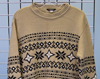 255fee62b50a3c 90s Beige brown snowflake jumper M