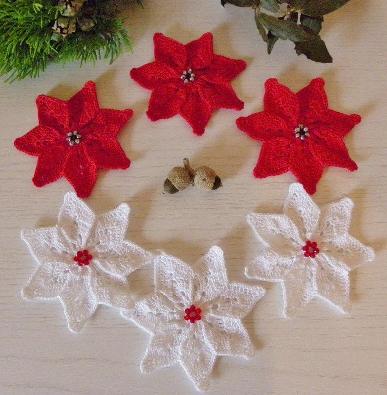 Applique Stelle Di Natale Alluncinetto Bianche E Rosse Etsy