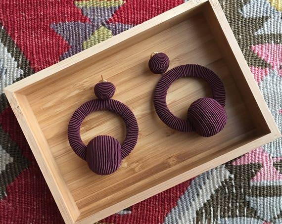 Hoop La La Earrings in Garnet Silk