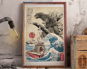 Orca in Japan Woodblock Portrait Poster, Godzilla poster, Japanese Poster, Art Print, Gojira Art, Movie Lover Gifts, Artistic Gifts