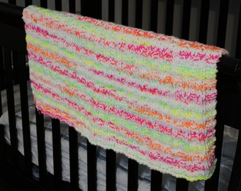 Neon Brights Hand Knit Baby Blanket