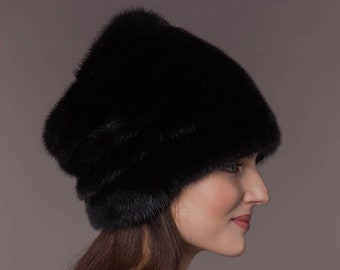 fe588a62d2b Natural handmade real black mink fur hat