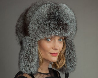 ef3ff38d0a120 Huge Handmade Natural Silver Fox Fur Hat | Ushanka | Trapper Hat, With Ear  Flaps