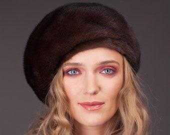 Vintage Style Natural Brown Mink Fur Hat For Women 36b224d6570f