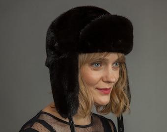 c563bb790fc3a Handmade Natural Mink Fur Hat