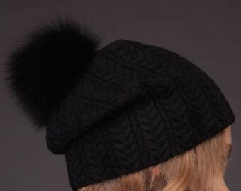 517b5b2963f Black Cashmere Women Beanie Hat With Natural Fox Fur Pom-Pom