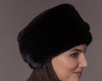 7a4b45693c03af Handmade Real Black Mink Fur Hat, Vintage Style, Genuine Luxury Women Fur  Accessory, Gift Idea for Her