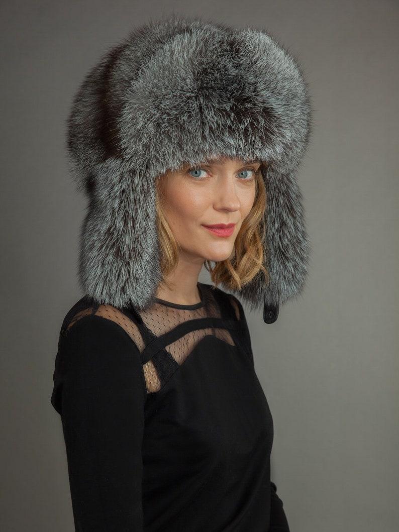 8842c43eb Huge Handmade Natural Silver Fox Fur Hat | Ushanka | Trapper Hat, With Ear  Flaps