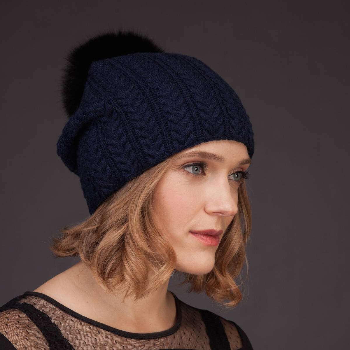 5 CASHMERE MIX KNITTED BOBBLE HATS LEFT