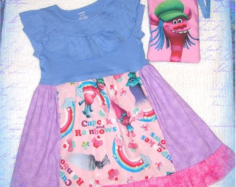 Girls Casual Comfy Knit Cotton Dress Purse Set - Funny Hair TR0LLS Dress - Birthday Party - Shirt size 4/5 4T 5T - Rainbow Cupcakes