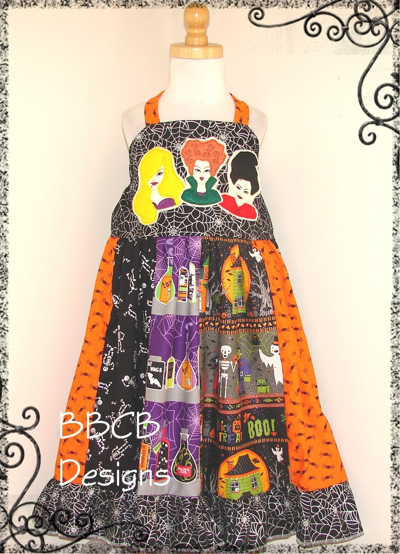 Hocus Pocus Haunted Girls WITCH SISTERS Halloween Dress and Shirt Holiday October Party Costume ready to ship aprx size 5T 56