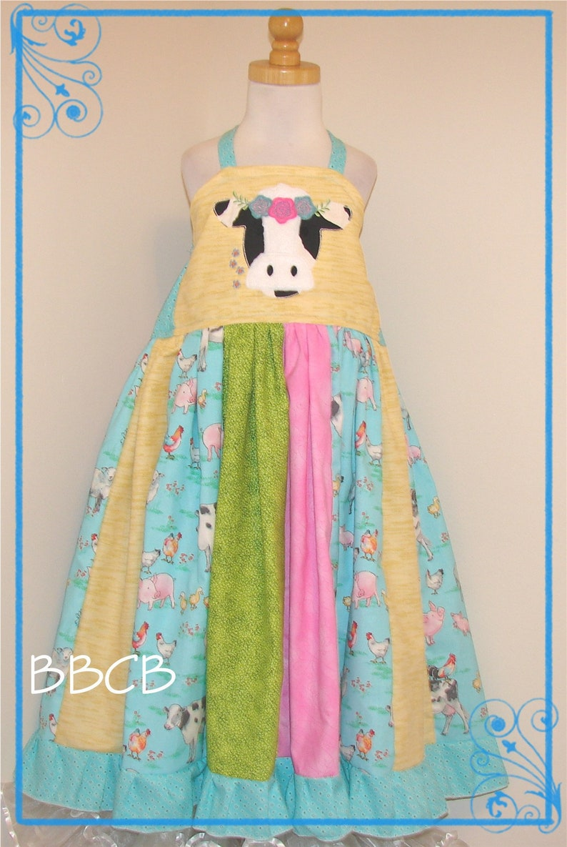 Cow Dress  Ready to Ship fits aprxx size 8 10  Birthday Party Pageant County Fair Down on the Farm Pigs