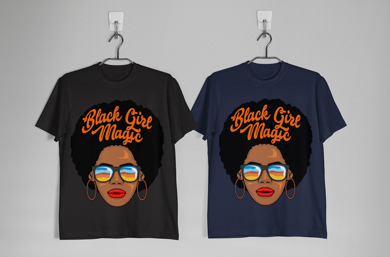 a8bc17b5 Queen Black Beautiful Magic Girl T-shirt Afro black hair Tee | Etsy