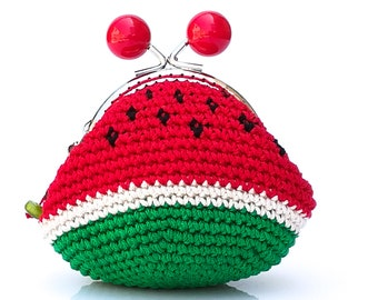 Coin purse crochet, hand knitted mini bag  with watermelon design and metal frame, summer fruits, kiss lock coin purse, handmade cute gift