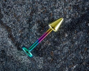 1.2mm (16g) Titanium Labret Stud With Cone - Rainbow