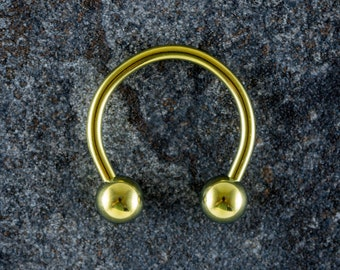 1.6mm (14g) Titanium Circular Barbell With Balls - Yellow