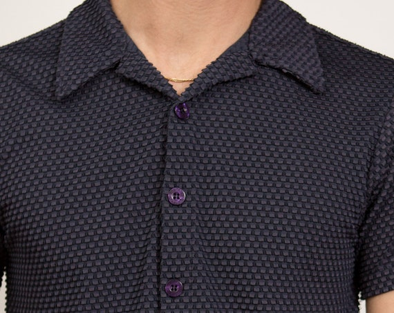 Vintage Men's Shirt - 80's Thin Fabric Small Size Dark Navy Blue - Button Up Summer Shirt with Collar