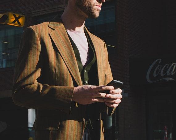 Vintage Men's Blazer - Medium Striped Green Sports Coat - Stylish Trendy Vintage Wedding Suit Coat