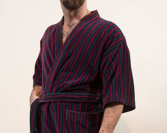 Vintage Men's Robe - Burgundy Blue Striped Cotton Dressing Gown - Medium Large - Bedroom Attire- Gift for him
