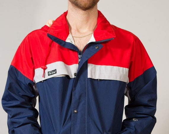 Vintage Colour Blocked Windbreaker - Far West Mountain Wear Medium Red and Blue Men's / Women's Athletic Sports Jacket
