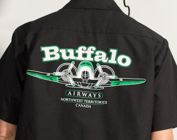 Buffalo Airways shirt - Northwest Territories Vintage Black Airplane Shirt - Men's Large Size Button Down Short Sleeve Shirt