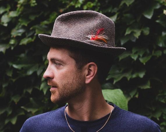 Harris Tweed Style Fedora Hat - Beco Feathered wool blend hat - Medium 55cm Men's Hat - Street Style Streetwear Formal Hat