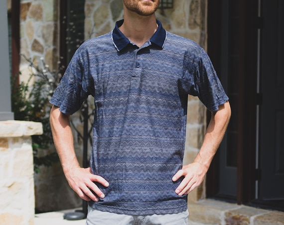 Men's Polo Shirt - Vintage Large Size Blue Chevron Tee - Short Sleeve Summer Golf Shirt