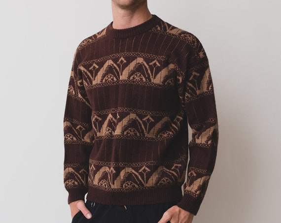 Vintage Men's Sweater - Medium 90's Brown Geometric Abstract Pullover - Long Sleeved Jumper