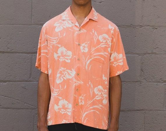 Coral Hawaiian Shirt - Large Size Men's Button up Casual Short Sleeved Hibiscus Flower Tiki Aloha Summer Tropical Beach Shirt