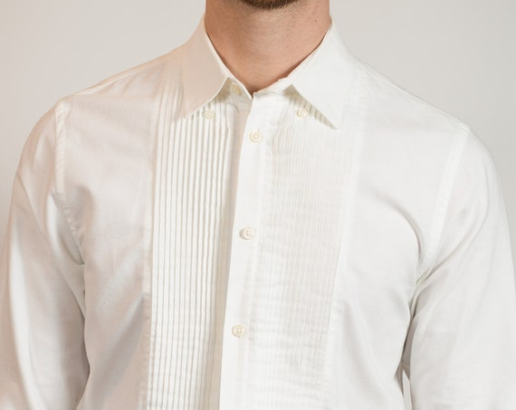 White Tuxedo Shirt - Club Monaco Men's Formal Button up Shirt with Ruffled Front - Medium Size Slim Fit Wedding Shirt