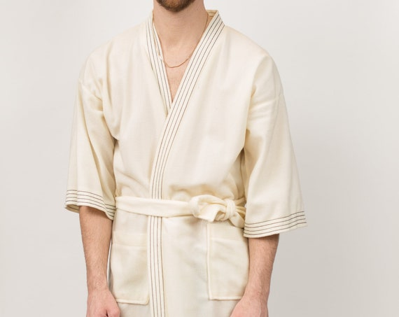 Men's Vintage Robe - One Size Off-white Pajamas - Smoking Robe - Dressing Gown - Bedroom Attire - Gift for him - Gift for Dad