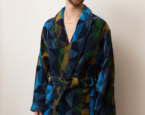Men's Vintage Robe - Medium Size Blue Geometric Pajamas - Dressing Gown - Smoking Robe - Bedroom Attire - Gift for him - Gift for Dad