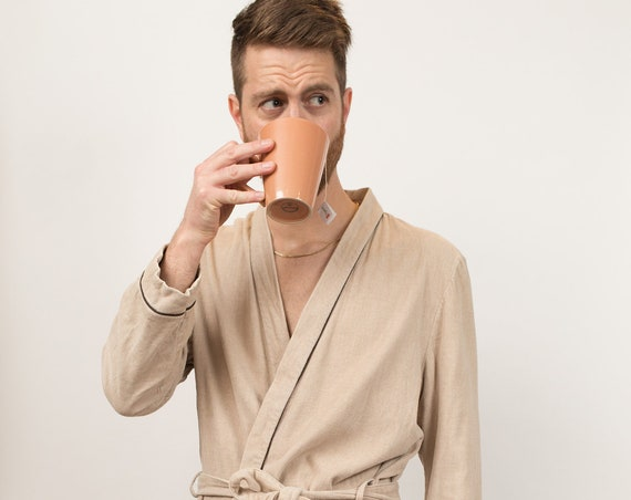 Men's Vintage Robe - Medium Size Beige Pajamas - Smoking Robe - Dressing Gown - Bedroom Attire - Gift for him - Gift for Dad